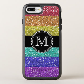 Rainbow, Glitter, Monogrammed OtterBox Symmetry iPhone 8 Plus/7 Plus Case