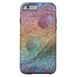 Rainbow glitter peacock feathers tough iPhone 6 case