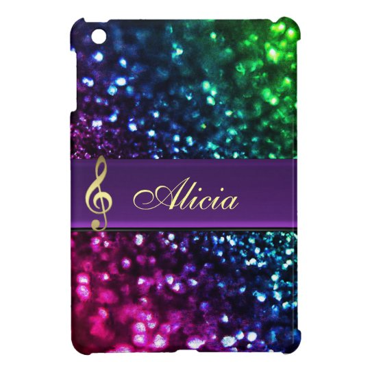 Rainbow Glitter Personalised Gold Music Clef Case Cover