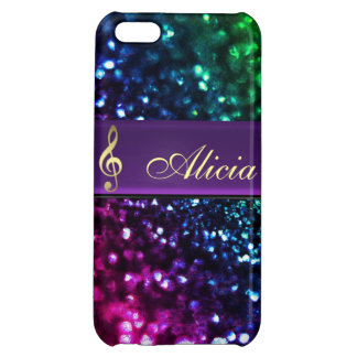 Rainbow Glitter Personalized Gold Music Clef Case Case For iPhone 5C