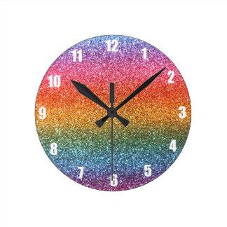 Rainbow glitter round clock
