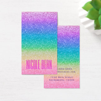 Rainbow Glitter Sparkle Glamour Girl Chic Business Card