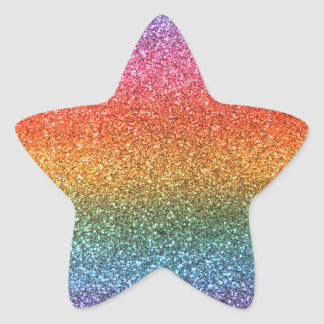 Rainbow glitter star sticker