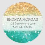 Rainbow Glitter Stickers - Teal, Gold