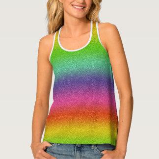 Rainbow Glitter Texture Racereback Tank Top