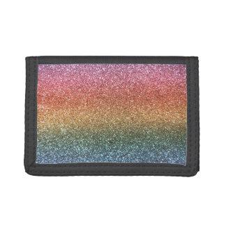 Rainbow glitter tri-fold wallet