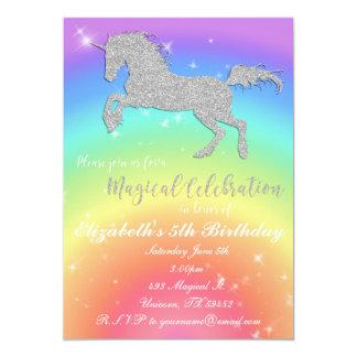 Rainbow Glitter Unicorn Birthday Inviation Card