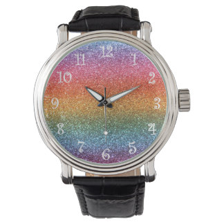 Rainbow glitter watch