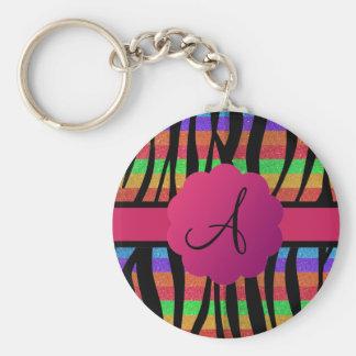 Rainbow glitter zebra stripes monogrammed keychain