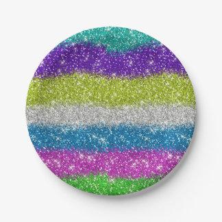 Rainbow Glitters Stripes Paper Plate