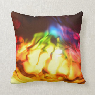 Rainbow glow bright abstract grunge throw cushion
