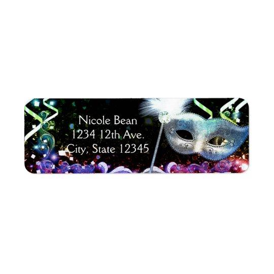 Rainbow Glow Masquerade Mask Birthday Party Return Address Label