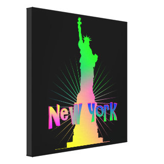 Rainbow Glow New York American Statue Of Liberty Canvas Print