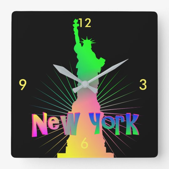 Rainbow Glow New York American Statue Of Liberty Square Wall Clock