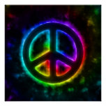Rainbow Glow Peace Sign Poster