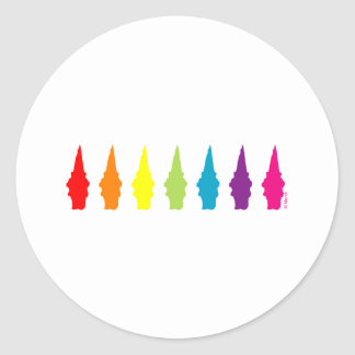 Rainbow Gnomes Classic Round Sticker