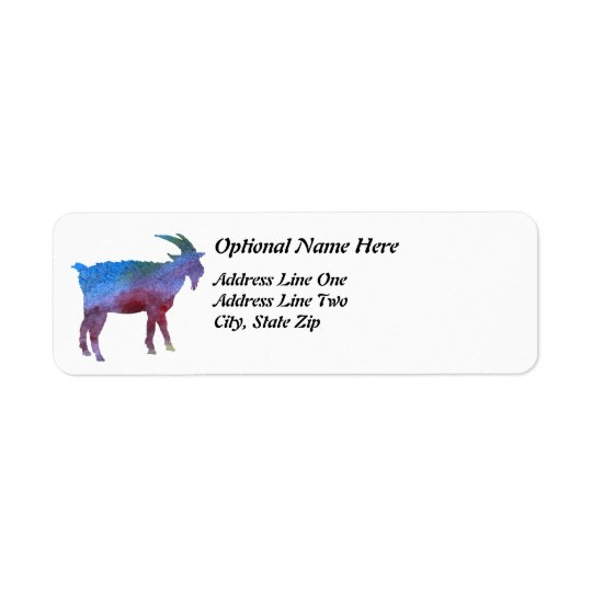Rainbow Goat with Customisable Text Return Address Label