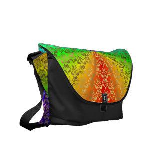 Rainbow gold damask on black courier bag