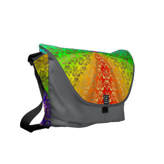 Rainbow gold damask on coal courier bag
