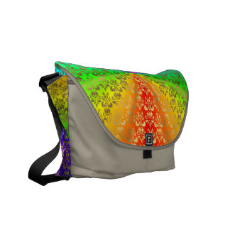 Rainbow gold damask on flannel messenger bags