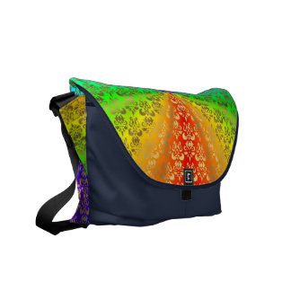 Rainbow gold damask on midnight messenger bags
