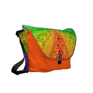 Rainbow gold damask on orange commuter bags