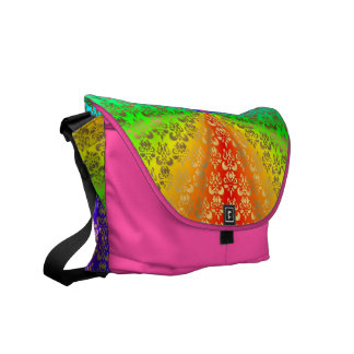 Rainbow gold damask on  pink courier bag