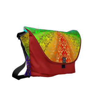 Rainbow gold damask on red messenger bags
