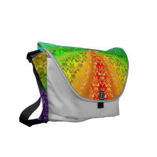 Rainbow gold damask on silver messenger bag