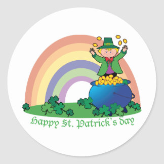 Rainbow Gold Leprechaun Classic Round Sticker