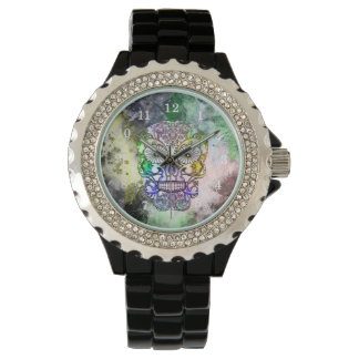 Rainbow Goth Sugar Skull Design Wristwatches