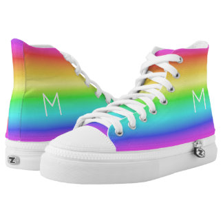 Rainbow Gradient custom monogram high-top shoes Printed Shoes