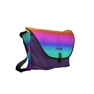 Rainbow Gradient custom monogram messenger bags