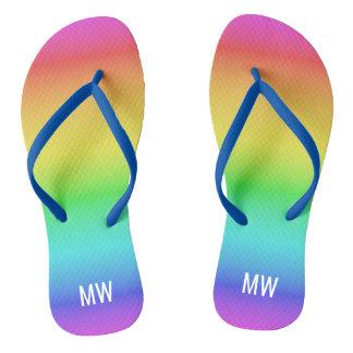 Rainbow Gradient custom monogram sandals
