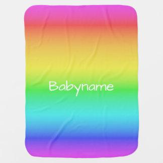 Rainbow Gradient custom name baby blanket