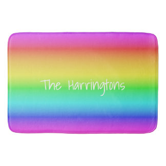 Rainbow Gradient custom name bath mats