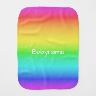 Rainbow Gradient custom name burp cloth