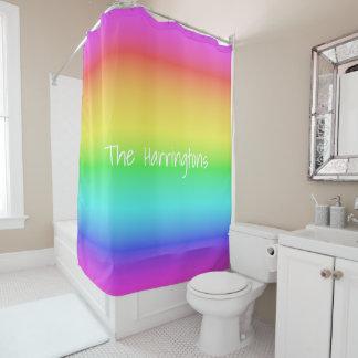 Rainbow Gradient custom name shower curtain