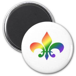 Rainbow Gradient Fleur de Lis 6 Cm Round Magnet