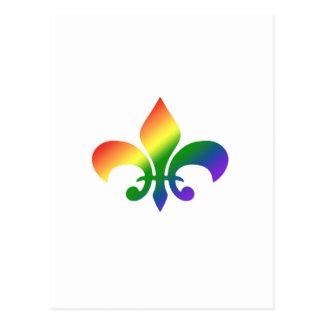 Rainbow Gradient Fleur de Lis Postcard