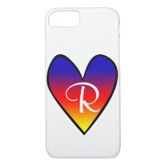 Rainbow Gradient Heart with Initial iPhone 8/7 Case