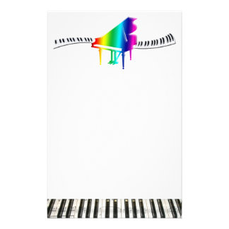 Rainbow Grand Piano and Keyboard Customized Stationery