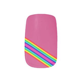 Rainbow Green Blue Pink Stripes Minx Nail Art