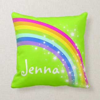 rainbow green girls name Jenna cushion pillow
