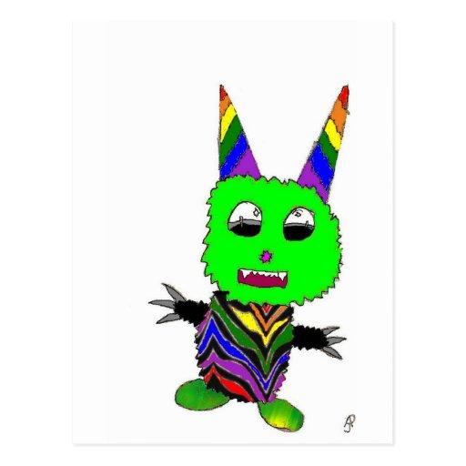 Rainbow gremlin postcard