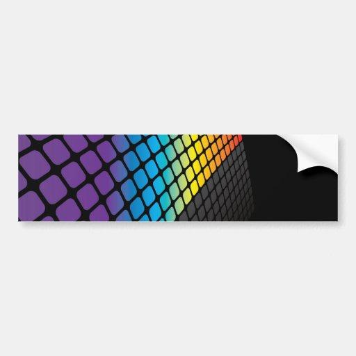 Rainbow Grid Background Bumper Stickers