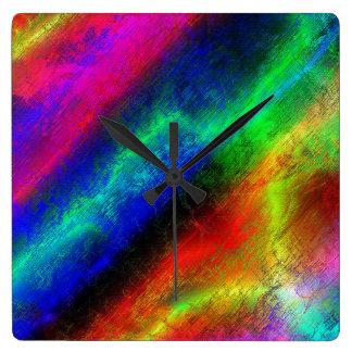 Rainbow Grunge Abstract Square Wall Clocks