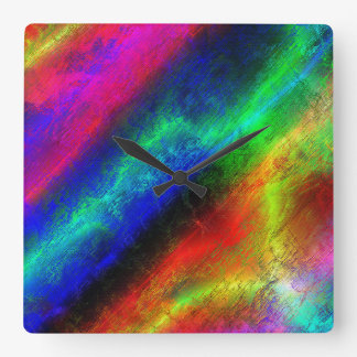 Rainbow Grunge Abstract Square Wall Clock
