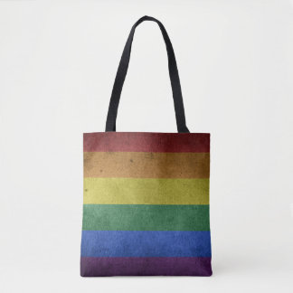 Rainbow grunge flag tote bag