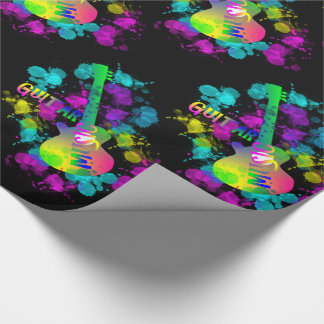 Rainbow Guitar Music Themed Wrapping Paper